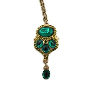 Jewelry - Teal Green Rhinestone Convertible Brooch Necklace